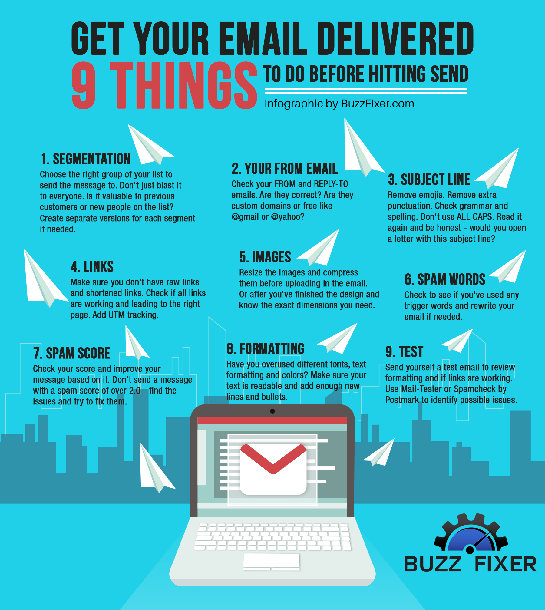 Infographic by Buzz Fixer - Email Deliverability - message elements.