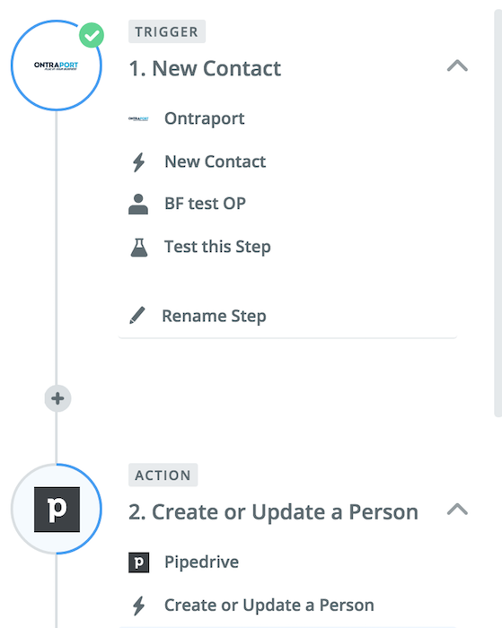 ontraport to pipedrive integration new contact