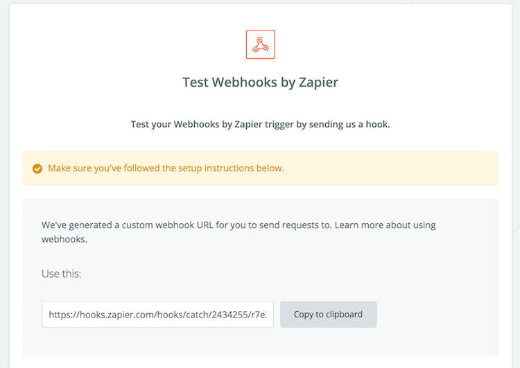 test webhook and copy url in zapier