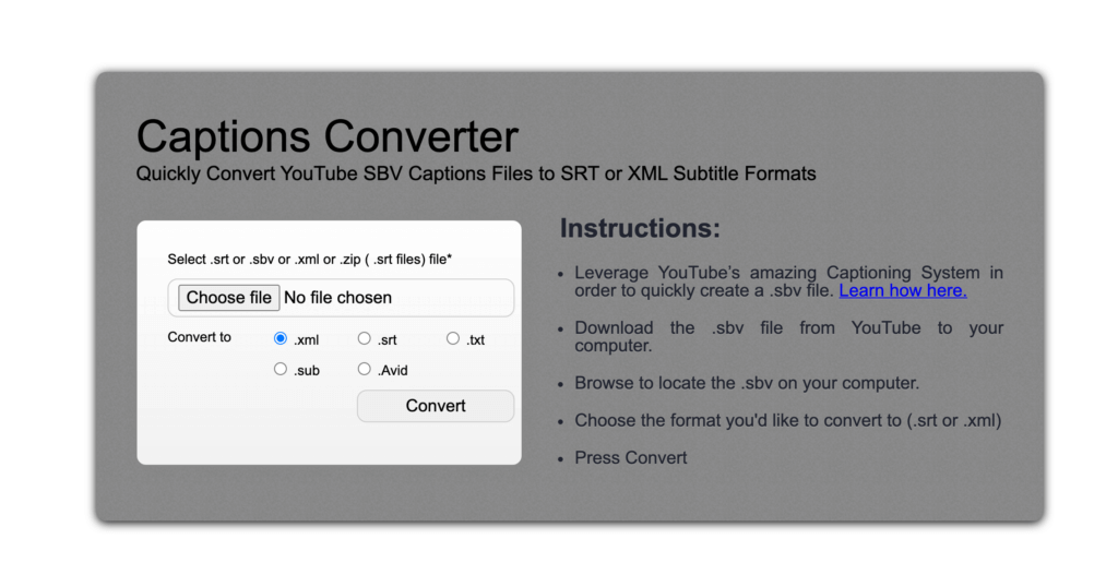 convert captions file to text